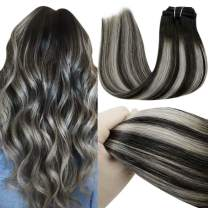 LaaVoo Clip in Human Hair Extensions Black Ombre Extensions Clip in Off Black Fading to Silver Grey Highlighted with Natural Black Double Weft Clip in Black Hair 7pcs/120g 20Inch