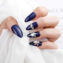 Drecode Fashion Glossy Fake Nails Blue Bling Rhinestone Beaded Full Cover Acrylic False Nail Tips Party Clip Press on Nails for Women and Girls(24Pcs)