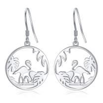 Giraffe Drop Earrings Flamingo Earrings S925 Sterling Silver Animal Dangle Earrings Tree of Life Jewelry Gifts for Women Mom Mother's Day Birthday