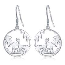 Giraffe Drop Earrings Flamingo Earrings S925 Sterling Silver Animal Dangle Earrings Tree of Life Jewelry Gifts for Women Mom Mother's Day Birthday