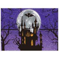 Allenjoy 8x6ft Halloween Backdrop for Girl Birthday Party Moonlight Castle Children Purple Photography Background Trick or Treat Banner Newborn Baby Shower Home Decor Photoshoot Studio Props Cloth