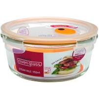 LOCK & LOCK Purely Better Glass Food Storage Container with Steam Vent Lid, Round-32 oz, Clear