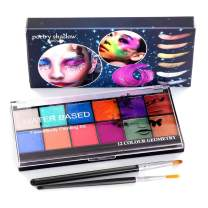 CCbeauty 12 Colors Water Based Face Body Paint Shining Glitter Painting Special Effect Makeup with 2 Art Brushes