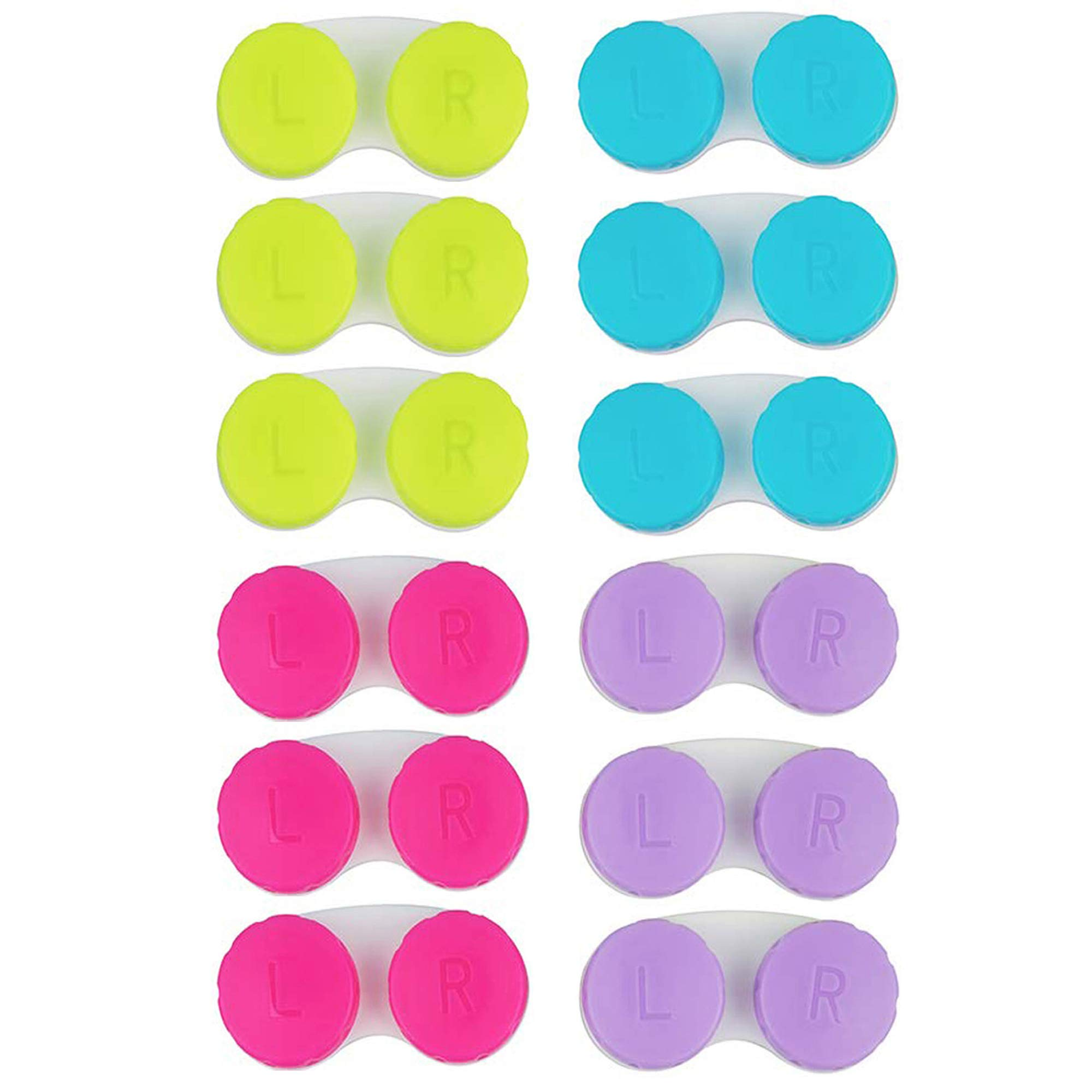 KISEER 12 Pack Colorful Contact Lens Case Box Holder Container Soak Storage Kit
