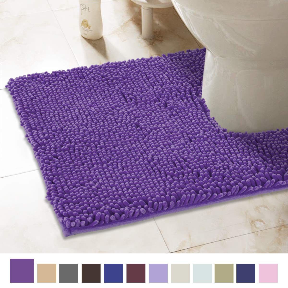 ITSOFT Non-Slip Shaggy Chenille Toilet Contour Bathroom Rug with Water Absorbent, Machine Washable, 21 x 24 Inches U-Shaped Lilac