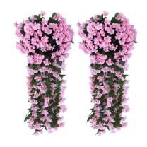 AUKUZI Artificial Violet Ivy Flowers, 2PCS Silk Hanging Basket Lifelike Garland for Home Wedding Garden/Yard String Floral Decoration (Pink)