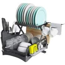 XIGOO Dish Drying Rack, 2 Tier Large Kitchen Dish Racks with Drainboard, Kitchen Utensil Cup Holder and Dishcloth Hanger, Rustproof Coating Dish Drainer for Kitchen Counter, Dish Dryer Shelf (Black)