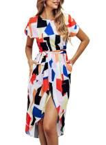 KIRUNDO Women's Summer Casual Dress Round Neck Short Sleeves Strip Geometric Split Maxi Beach Dress with Belt (Small, Red)