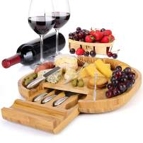 MH ZONE Bamboo Cheese Board Set Cheese Plate Cheese Tray with Integrated Drawer, 4 Stainless Steel Knife and 4 Fork, Perfect Christmas Gifts for Family, Friend or Lover