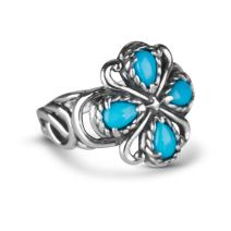 Carolyn Pollack Sterling Silver Sleeping Beauty Turquoise Gemstone Rope and Scroll Bold Ring Size 5-10