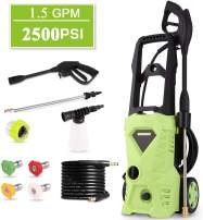 Homdox 2500 PSI Electric Pressure Washer 1600W Power Washer 1.5GPM High Pressure Washer, Professional Washer Cleaner Machine with 4 Interchangeable Nozzles (Green)