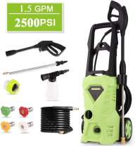 Homdox 2500 PSI Electric Pressure Washer 1600W Power Washer 1.5GPM High Pressure Washer, Professional Washer Cleaner Machine with 4 Interchangeable Nozzles