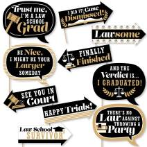 Big Dot of Happiness Funny Law School Grad - Future Lawyer Graduation Party Photo Booth Props Kit - 10 Piece