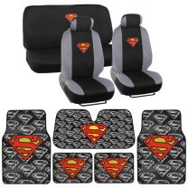 Warner Bros 14 Pc Full Interior Protection Auto Accessories - DC Superman Super Hero Seat Cover, Floor Mat and Sunshade