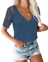luvamia Women's Casual V Neck Lace Tops Short Sleeve Summer T Shirts Blouses