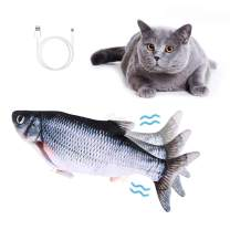 JINGOU Interactive Cat Toy Fish, Electric Wagging Fish Catnip Toys for Indoor Cats, Realistic Flopping Fish Motion Kitten Toy Plush Interactive Cat Toys for Cat Exercise