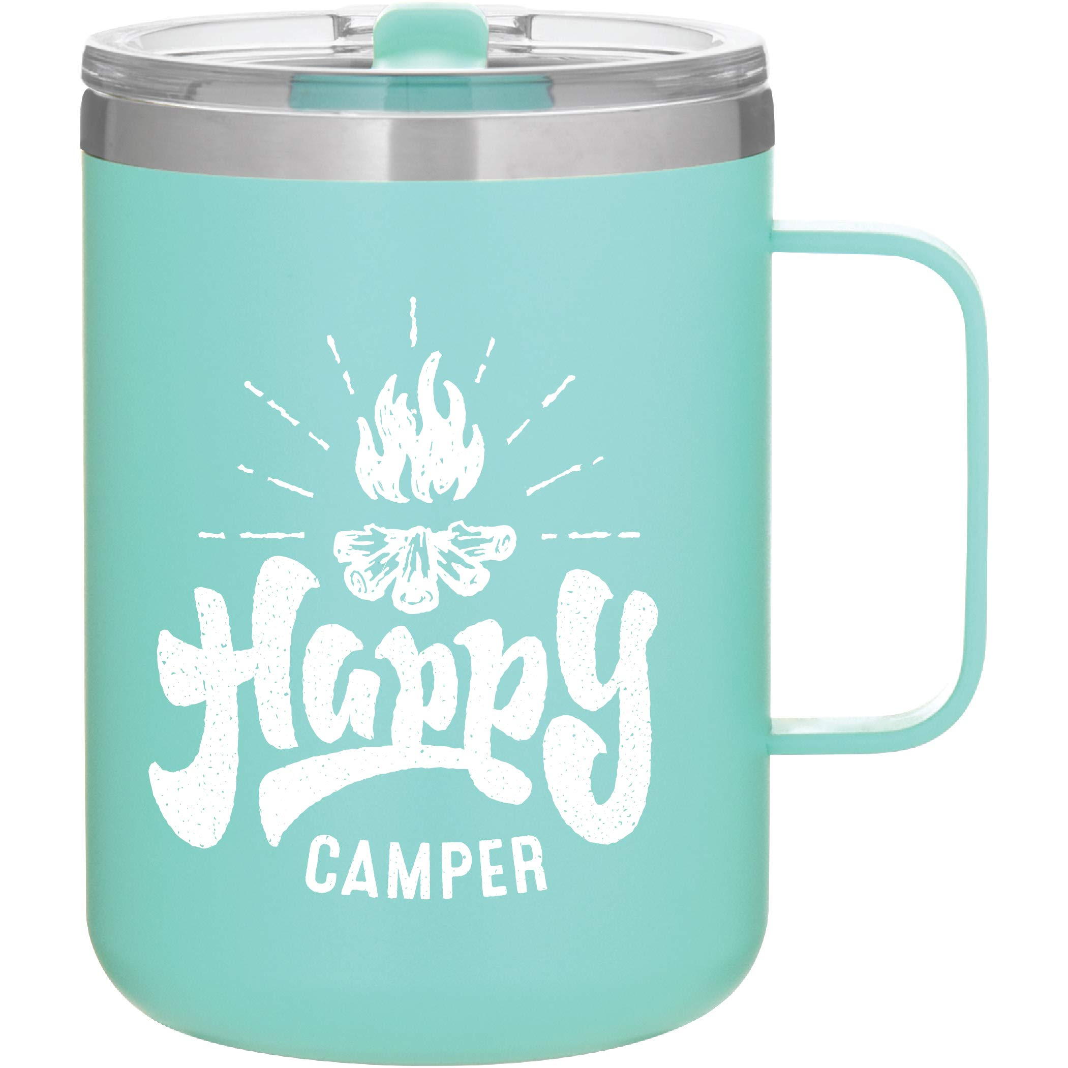 Happy Camper - Camping Gifts - 16oz Vacuum Insulated Travel Mug with Lid by MugHeads (Matte Mint)