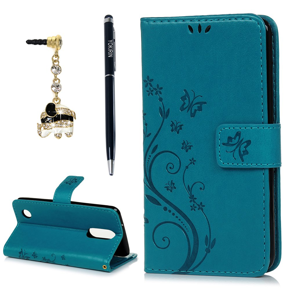 LG Aristo 2 Case, LG Aristo, LG Aristo 2 Plus, LG Rebel 2, LG Risio 3Wrist Strap Flip Kickstand PU Leather Wallet Cover Embossed Floral Butterfly ID&Credit Card Holder for LG K8 2017 & 2018, Blue