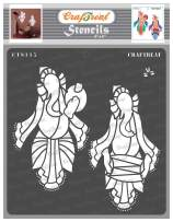 CrafTreat Indian Ganesh Stencils for Painting on Wood, Wall, Tile, Canvas, Paper, Fabric and Floor - Musical Ganesha 2-6x6 Inches - Reusable DIY Art and Craft Stencils - Ganesha Stencil