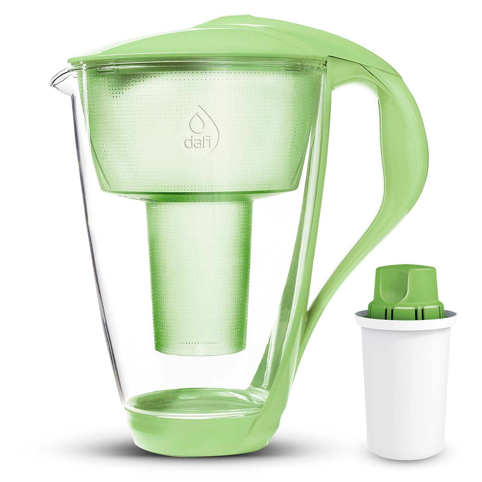 Dafi Alkaline UP Crystal Glass Water Pitcher 8 Cups (Green - Crystal Alkaline Water Pitcher with 1 Alkaline UP pH Water Filter)