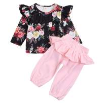 Toddler Kids Baby Girls Clothing Sets Floral Long Sleeve Top Ruffle Pants Outfit Autumn Clotthes