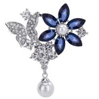 VVANT Brooch for Women Crystal Flower Brooch Pin Blue Pins Durable and Useful,Suitable for Dress Gift for Mother's Day,Wedding,Birthday,Anniversary,with Gift Box.