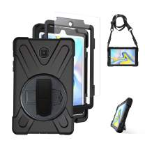 Galaxy Tab A 8.0 Case 2018 with Screen Protector for Kids, T387 Case TSQ Heavy Duty Shockproof Hard Rugged Protective Rubber Case with Handle Hand Strap/Stand/Shoulder Strap for Tab A 8.0,Black