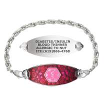 Divoti Custom Engraved Medical Alert Bracelets for Women, Stainless Steel Medical Bracelet, Medical ID Bracelet w/Free Engraving – Blooming Cherry Blossom Tag w/Rope– Color/Size