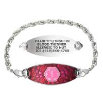 Divoti Custom Engraved Medical Alert Bracelets for Women, Stainless Steel Medical Bracelet, Medical ID Bracelet w/Free Engraving – Blooming Cherry Blossom Tag w/Rope– Color/Size