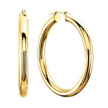 14K Yellow Gold 4MM Shiny Round Tube Hoop Earrings