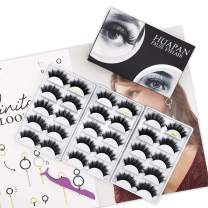 Huapan 5D Faux Mink Lashes: 15 Pairs of Fluffy Natural Volume False Eyelashes with Lash Applicator