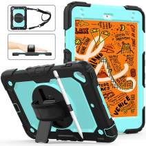 iPad Mini 4th/5th Generation Case with Screen Protector, iPad Mini 5/4 Case Cover with Pencil Holder,Herize Durable Rugged Protection Shockproof Case Cover with Hand Grip/Shoulder Strap/Stand,SkyBlue