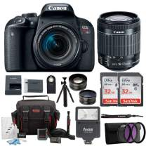 Canon EOS Rebel T7i Digital Camera: 24 Megapixel 1080p HD Video DSLR Bundle with Wide Angle 18-55mm Lens 64GB Mini Tripod Filter Kit & Flash - Professional Vlogging Sports & Action Cameras