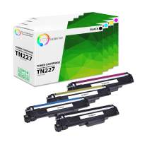 TCT Premium Compatible Toner Cartridge Replacement with Chip for Brother TN227 TN-227 Works with Brother HL-L3210CW, MFC-L3710CW L3750CDW, DCP-L3510CDW Printers (B, C, M, Y) - 4 Pack
