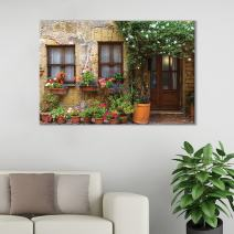 "wall26 Canvas Wall Art of Italian Countryside Porch with Flowers | 16"" x 24"""
