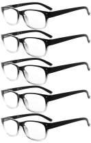Eyekepper Design Reading Glasses-5 Pack Black-Clear Frame Glasses for Women Men Reading,+3.00 Reader Eyeglasses