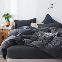 FOSSA Jersey Knit 3 Pieces Duvet Cover Set Twin T-Shirt Heathered Cotton Super Soft Comfortable (Charcoal, Twin)