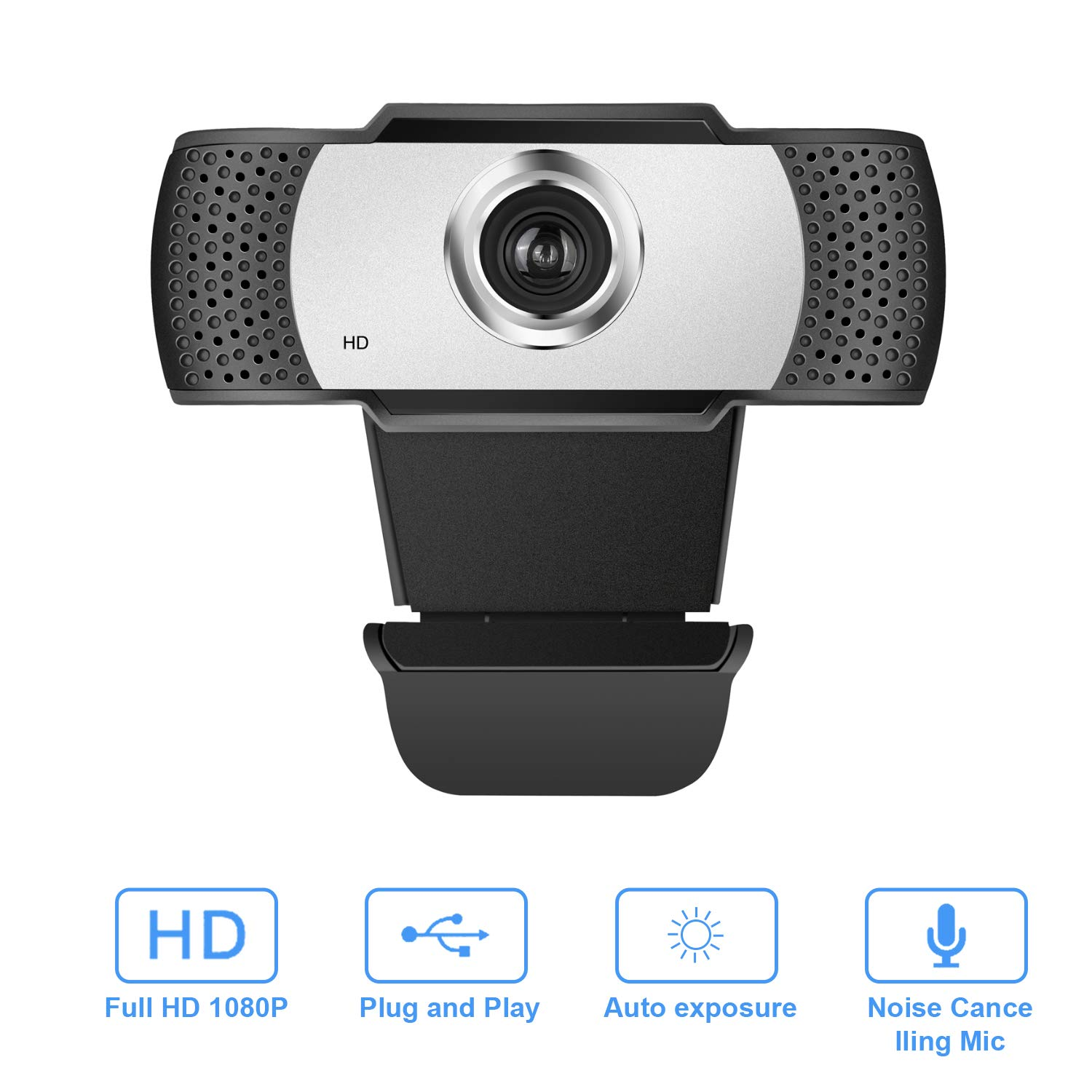 Full HD Webcam 1080P with Microphone - Wide Angle Webcams Streaming USB Web Camera - W302 Pro Computer Camera for Video Calling, Recording, Conferencing, Skype, OBS, PC Laptop