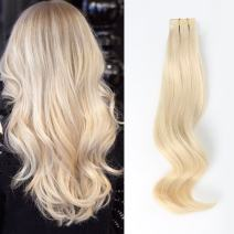 ABH AmazingBeauty Hair Semi-permanent Real Remi Remy Human Tape in straight Hair 50g 20pcs Skin Weft Tape Attached Invisible Seamless Reusable Platinum Ash Blonde Color 60 22 Inch