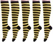 Womens Colorful Knee High Socks Casual Cotton Stripe Over Calf Sock W608