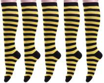 Womens Colorful Knee High Socks Casual Cotton Stripe Over Calf Sock W608