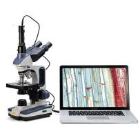 Swift Trinocular Compound Microscope SW350T,40X-2500X Magnification,Siedentopf Head,Research-Grade,Two-Layer Mechanical Stage,1.3mp Camera and Software Windows and Mac Compatible