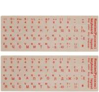 """FORITO [3 Pack] Russian Keyboard Stickers Transparent for White Keyboard, Transparent Background with Red Lettering for Computer Keyboard, Each Unit Size: (Width) 0.43"""" x (Height) 0.51"""""""