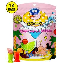 Amos 4D Strange Gummy Candy Snacks Fashion Weird 3D Cocktail Shaped Jelly Fruit Flavor Free Of Gluten Fat Soft & Chewy Crazy Fun Candy 6 Oz Per Bags(Pack of 12)