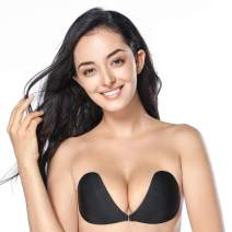 Whifenny Strapless Adhesive Bra for Women Sticky Invisible Backless Push Up Reusable Silicone Bra