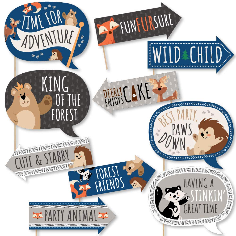 Funny Stay Wild - Forest Animals - Woodland Baby Shower or Birthday Party Photo Booth Props Kit - 10 Piece