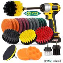 22 Piece Drill Brush Attachment Set, JUSONEY Power Scrubber Drill Brush Kit, Scrub Brush With Extend Long Attachment, Scrubing Pads Cleaning Kit For Tile Sealants,Bathtub,Sinks, Floor, Wheel, Carpet