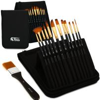 Artify 12 Pcs Paint Brush Set Includes Pop-up Carrying Case with Free Palette Knife, Large Flat Brush and Sponge for Acrylic, Oil, Watercolor and Gouache