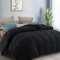 COTTONHOUSE Queen Size (88x88) Winter Warm Fluffy Hypoallergenic Lightweight All Season Comforter Reversible Duvet Insert Down Alternative Fill with 8 Corner Tabs,Machine Washable-Black