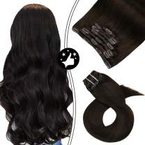 Moresoo Clip in Hair Extensions 20inch Clip in Real Hair Extensions Clip in Human Hair Natural Hair Clip Extensions Full Head Color #2 Darkest Brown Double Weft Clip ins 7PCS 100G